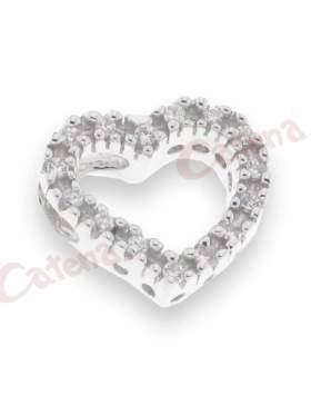 Μενταγιόν ασημένιο, επιπλατινωμένο, με σχέδιο καρδιά στολισμένη με άσπρες πέτρες ζιργκόν