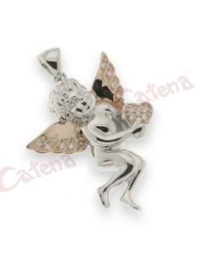 Μενταγιόν ασημένιο επιπλατινωμένο σχέδιο αγγελάκι με καρδιά και λευκές πέτρες ζιργκόν