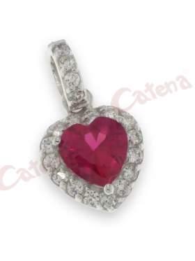 Μενταγιόν ασημένιο επιπλατινωμένο, σχέδιο καρδιά με λευκές πέτρες ζιργκόν και μια κόκκινη στο κέντρο