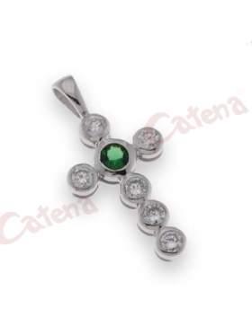 Σταυρός ασημένιος επιπλατινωμένος με πράσινες και λευκές πέτρες ζιργκόν