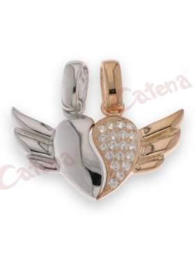 Μενταγιόν ασημένιο επιπλατινωμένο με ροζ χρυσό και σχέδιο φτερωτή καρδιά στολισμένη με άσπρες πέτρες ζιργκόν