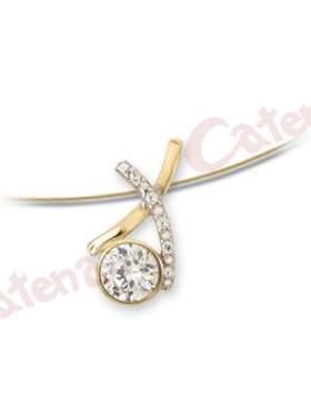 Μενταγιόν χρυσό, στολισμένο με άσπρες πέτρες ζιργκόν