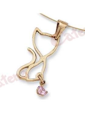 Μενταγιόν χρυσό με σχέδιο γάτα και ρόζ πέτρα ζιργκόν