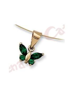 Μενταγιόν χρυσό με σχέδιο πεταλούδα στολισμένη με πράσινες πέτρες ζιρργκόν