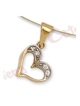 Μενταγιόν χρυσό με σχέδιο καρδιά, στολισμένη με άσπρες πέτρες ζιργκόν