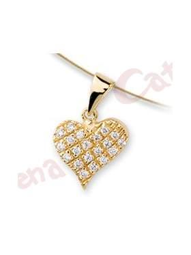 Μενταγιόν χρυσό με σχέδιο καρδιά στολισμένη με άσπρες πέτρες ζιργκόν