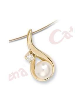 Μενταγιόν χρυσό στολισμένο με μαργαριτάρι και άσπρη πέτρα ζιργκόν