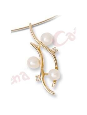 Μενταγιόν χρυσό στολισμένο με μαργαριτάρια και άσπρες πέτρες ζιργκόν