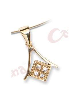 Μενταγιόν χρυσό στολισμένο με άσπρες πέτρες ζιργκόν