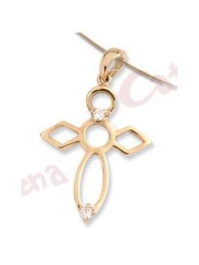 Μενταγιόν χρυσό με σχέδιο σταυρό και άσπρες πέτρες ζιργκόν