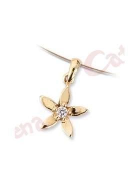 Μενταγιόν χρυσό με σχέδιο λουλούδι στολισμένο με άσπρη πέτρα ζιργκόν