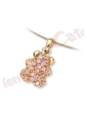 Μενταγιόν χρυσό με σχέδιο αρκουδάκι στολισμένο με ρόζ πέτρες ζιργκόν