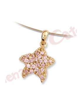 Μενταγιόν χρυσό με σχέδιο αστερία στολισμένο με ρόζ πέτρες ζιργκόν