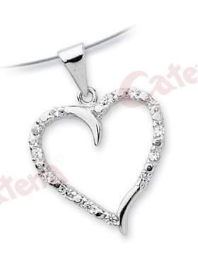 Μενταγιόν λευκόχρυσο με σχέδιο καρδιά στολισμένο με άσπρες πέτρες ζιργκόν