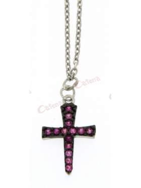 Ασημένιος σταυρός με με αλυσίδα και κόκκινες πέτρες και επιπλατίνωμα