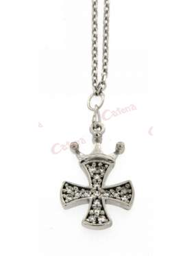 Ασημένιος σταυρός με με αλυσίδα σε συνδυασμό με κορώνα και λευκές πέτρες και επιπλατίνωμα
