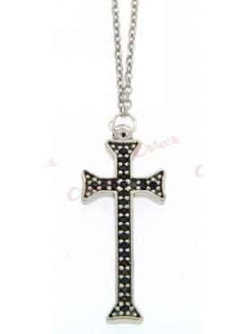 Ασημένιος σταυρός με με αλυσίδα και μαύρες  πέτρες  ζιργκόν και επιπλατίνωμα