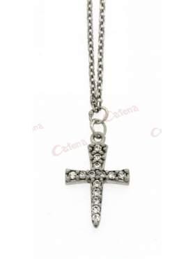 Ασημένιος σταυρός με με αλυσίδα και λευκές πέτρες και επιπλατίνωμα