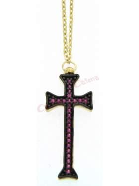 Ασημένιος σταυρός με με αλυσίδα και κόκκινες πέτρες και μαύρο επιπλατίνωμα  σε κίτρινο επιχρύσωμα