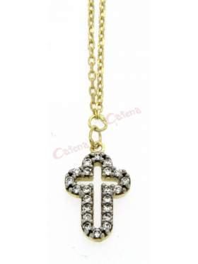 Ασημένιος σταυρός με με αλυσίδα και λευκές πέτρες και επιπλατίνωμα και κίτρινο επιχρύσωμα