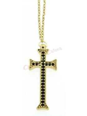 Ασημένιος σταυρός με με αλυσίδα και μαύρες πέτρες και επιπλατίνωμα