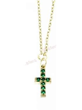 Ασημένιος σταυρός με με αλυσίδα και πράσινες πέτρες και επιπλατίνωμα