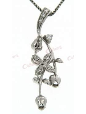 Μενταγιόν ασημένιο με αλυσίδα με σχέδιο λουλούδι στολισμένο με άσπρες πέτρες ζιργκόν