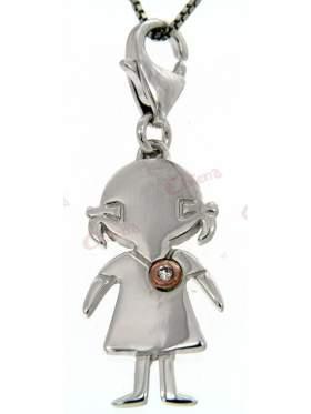 Μενταγιόν ασημένιο, δίχρωμο με σχέδιο κοριτσάκι στολισμένο με άσπρη πέτρα ζιργκόν