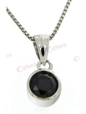 Μενταγιόν ασημένιο στολισμένο με μαύρη πέτρα ζιργκόν