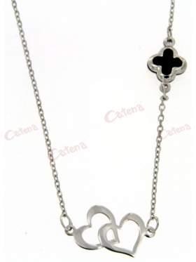 Λευκόχρυσο κολιέ, με σχέδιο διπλή καρδιά και σταυρό πάνω στην αλυσίδα