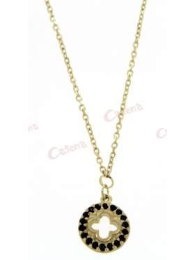 Χρυσό κολιέ, με σχέδιο κύκλο με σταυρό στολισμένος με μαύρες πέτρες ζιργκόν