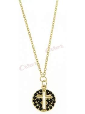 Χρυσό κολιέ, με σχέδιο κύκλο με σταυρό, στολισμένος με μαύρες πέτρες ζιργκόν