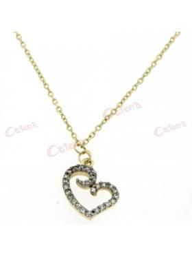Χρυσό κολιέ, με σχέδιο καρδιά, στολισμένη με άσπρες πέτρες ζιργκόν