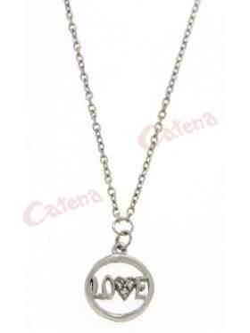 Λευκόχρυσο κολιέ, με σχέδιο κύκλος με την λέξη Love και στολισμένο το γράμμα V με άσπρες πέτρες ζιργκόν