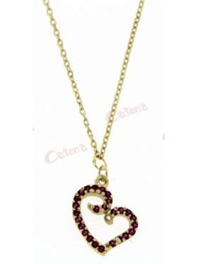 Κολιέ χρυσό, στολισμένο με ρόζ πέτρες ζιργκόν και σχέδιο καρδιά