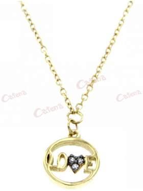 Χρυσό κολιέ, με σχέδιο κύκλος με την λέξη Love και στολισμένο το γράμμα V με άσπρες πέτρες ζιργκόν