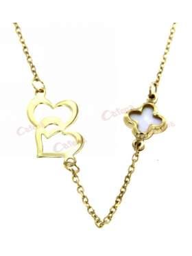 Χρυσό κολίε, με σχέδιο διπλή καρδιά και σταυρός από φίλντισι