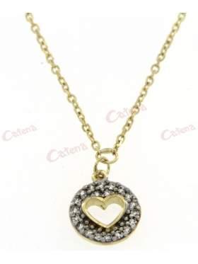 Κολιέ χρυσό, με σχέδιο κύκλος με καρδιά στολισμένος με άσπρες πέτρες ζιργκόν