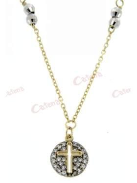 Κολιέ χρυσό, με σχέδιο κύκλος με καρδιά στολισμένος με άσπρες πέτρες ζιργκόν και μπίλιες ασημένιες, διαμανταρισμένες