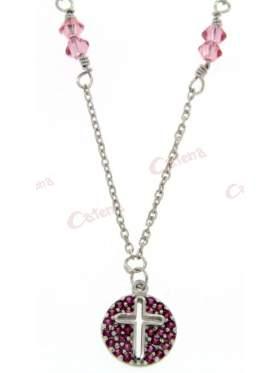 Λευκόχρυσο κολιέ, στολισμένο με ρόζ πέτρες ζιργκόν, σταυρό και ρόζ πέτρες Swarovski