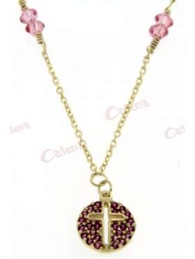 Χρυσό κολιέ, στολισμένο με ρόζ πέτρες ζιργκόν, σταυρό και ρόζ πέτρες Swarovski