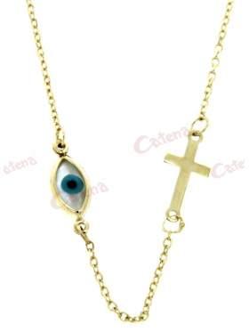 Χρυσό κολιέ με διπλό σχέδιο σταυρό και άσπρο μάτι με γαλάζια κόρη