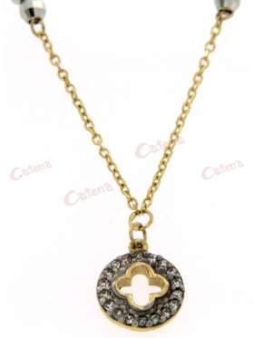 Χρυσό κολιέ με σχέδιο σταυρό στολισμένο περιμετρικά με άσπρες πέτρες ζιργκόν και μπίλιες ασημένιες, διαμανταρισμένες