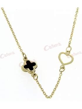 Χρυσό κολιέ, με διπλό σχέδιο καρδιά και σταυρό από μαύρο φίλντισι