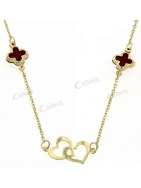 Χρυσό κολιέ, σχέδιο διπλή καρδιά και δύο σταυροί με κόκκινο φίλντισι