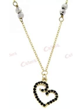 Χρυσό κολιέ, σχέδιο καρδιά στολισμένη με μαύρες πέτρες ζιργκόν και μπίλιες ασημένιες, διαμανταρισμένες