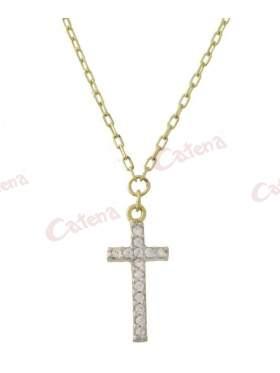 Κολιέ χρυσό με σχέδιο σταυρό στολισμένο με άσπρες πέτρες ζιργκόν