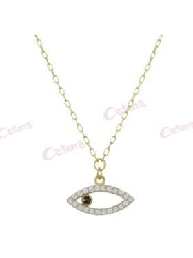 Κολιέ χρυσό με σχέδιο μάτι στολισμένο με άσπρες πέτρες ζιργκόν