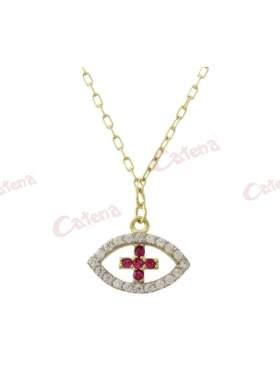 Κολιέ χρυσό με σχέδιο μάτι και σταυρό στο κέντρο στολισμένο με άσπρες και κόκκινες πέτρες ζιργκόν