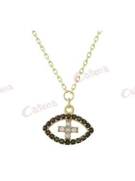 Κολιέ χρυσό με σχέδιο μάτι και σταυρό στο κέντρο στολισμένο με άσπρες και μαύρες πέτρες ζιργκόν